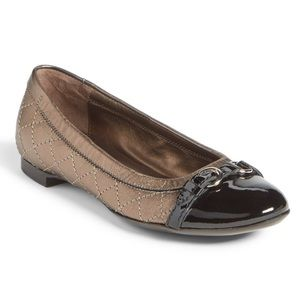 AGL   Quilted Cap Toe Pewter Ballet Flats